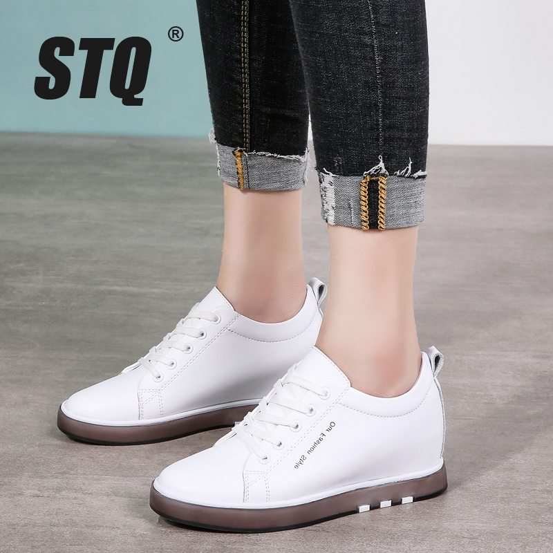STQ Autumn Women Flats Casual Shoes Lace-up Casual Sneakers Female Comfortable Flats Shoes Ladies Casual White Shoes 1399