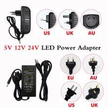 Постоянный ток, 5 В, 12 В, 24 В постоянного тока, 1A 2A 3A 5V 6A 7A 8A 10A Мощность Источник питания переменного тока 100 240V для 5050 3528 5630 Светодиодные ленты светильник трансформатор Зарядное устройство адаптер
