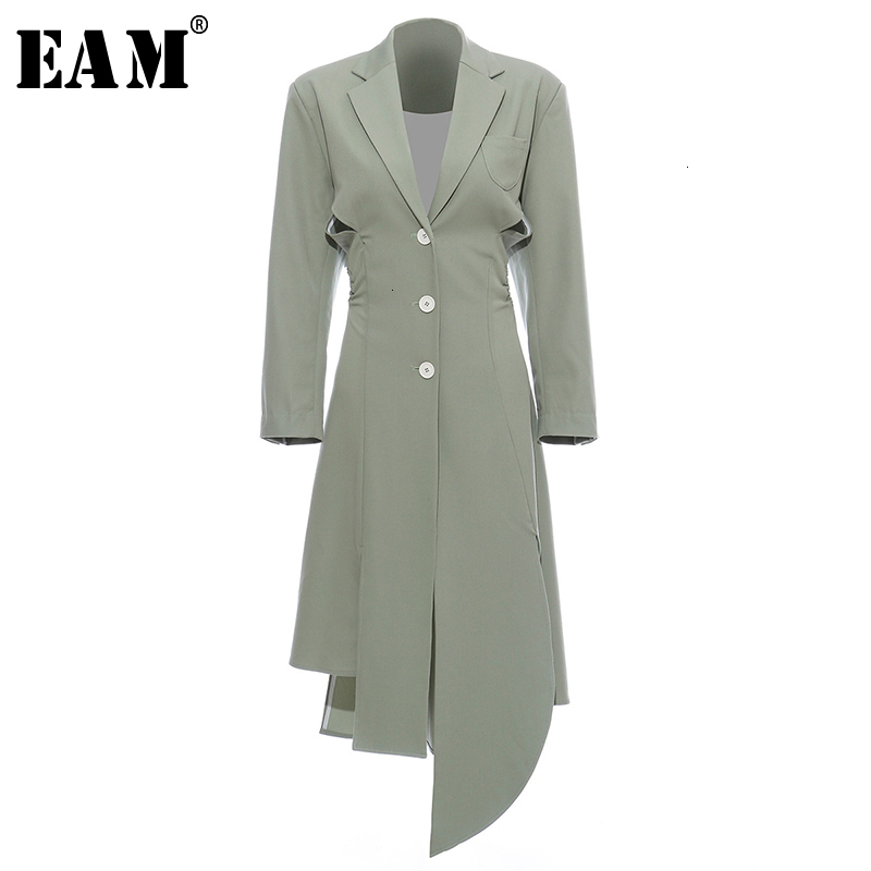 [EAM] Women Asymmetrical Hollow Out Long Trench New Lapel Long Sleeve Loose Fit Windbreaker Fashion Spring Autumn 2020 1H856
