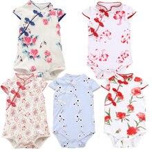 Verão bebê adorável meninas roupas de impressão chinesa clássico cheongs manga curta triângulo macacão 3-18m criança crianças traje
