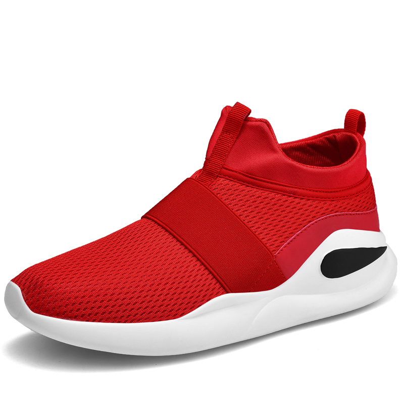 Men slip on shoes knit black Trainers walking without laces red Tenis male easy boost teenagers Superstar gym Shoes Human Race image