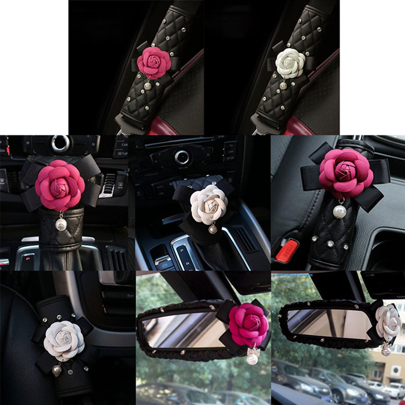 Crystal Rhinestones Camellia Flower Car Interior Accessories Women Leather Steering Wheel Cover Hand Brake Gear Cover Seat Belt