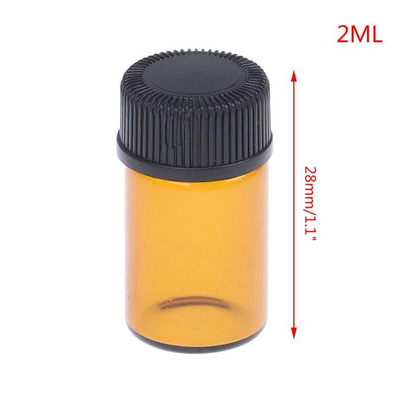 2020 1/2/3/5ml ขวดน้ำมันหอมระเหยแก้วแอมเบอร์มินิเติมขวดตัวอย่างขวดสีน้ำตาลขวดแก้วกับหมวก