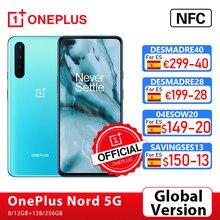 OnePlus Nord 5G móvil, OnePlus Official Store, 8GB + 765 GB, 128, 90Hz, Snapdragon 6,44G, teléfono móvil con Pantalla AMOLED, cámara cuádruple de 48MP, Warp Charge 30T, versión Global,código:DESMADRE40(€299-40)