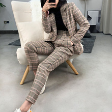 New 2019 Fashion Autumn Vintage Grid Casual Pants Women Lattice Trousers Female Office Lady Capris