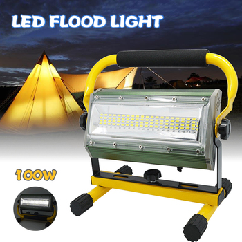 100W Portable Rechargeable Work Flood Light Spot Emergency Outdoor Camping Floodlight IP65 Rechargeable by 6*18650 Battery