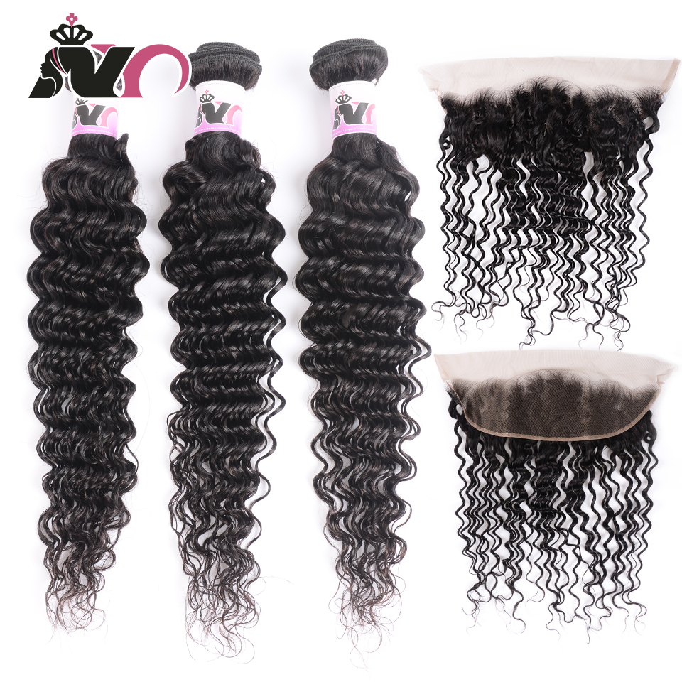 NY Deep Wave Bundles With Frontal Brazilian Hair Weave Bundles With Lace Closure Human Hair Natural Color Hair Extension