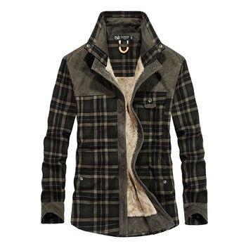 Mens Warm Jacket Fleece Thick Army Coat Autumn Winter Men Slim Fit Clothing Brand SA831
