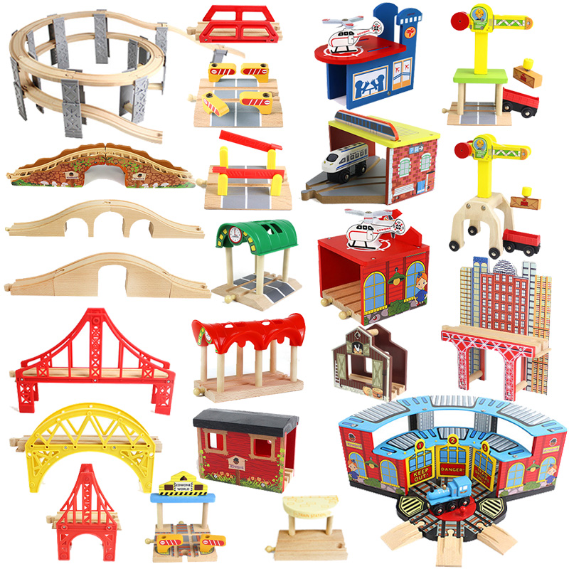 Wooden Track Railway Accessories Bridge Train Station Tunnel Cross Compatible All Brands Wood Track Educational Toys for Kids