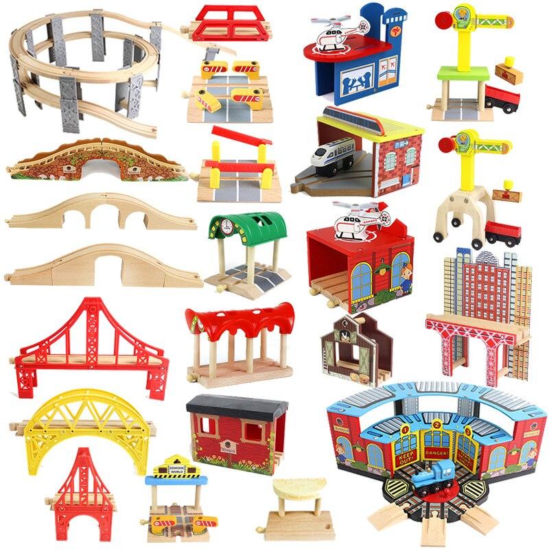 Деревянная железная дорога, аксессуары, мост, железнодорожная станция, туннель, крест, совместим со всеми брендами, деревянная дорожка, разв...