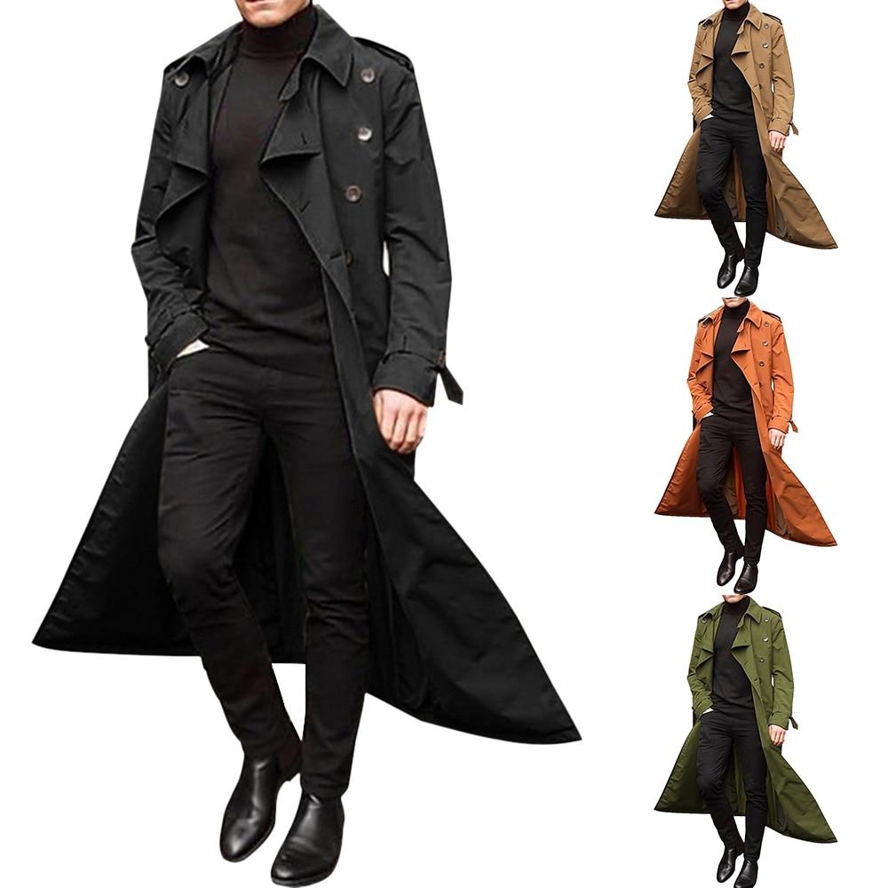 Hb86b8d045e2b4e3d8535918f38c7ad24p HEFLASHOR 2019 Long Trench Coat Men Solid Classic Winter Jacket Men Casual Loose British Style Trench Overcoat Streetwear Coat