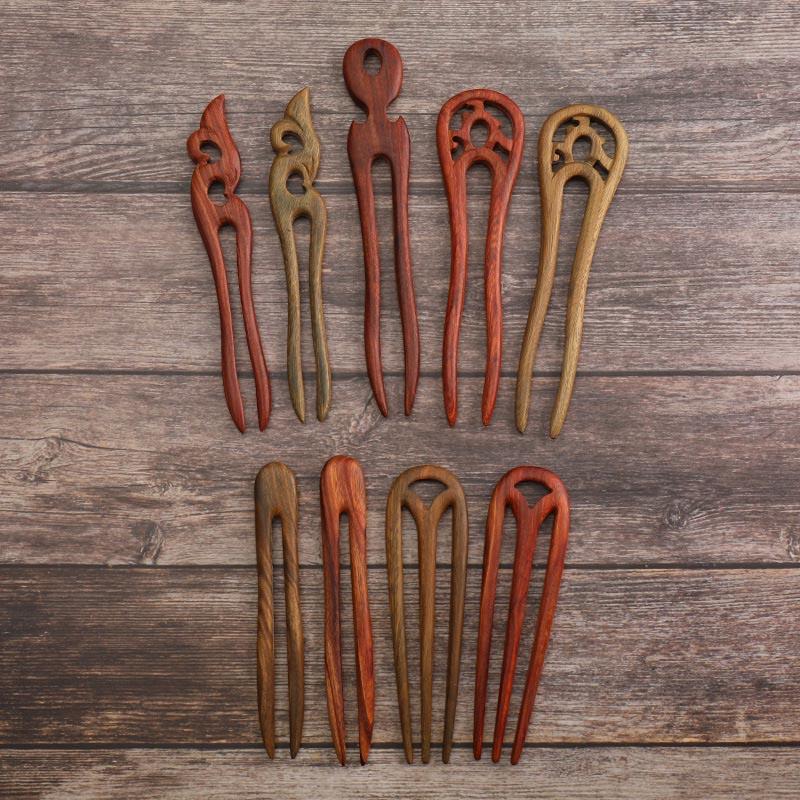 Sándalo en forma de U horquillas con Clips chino antiguo Hanfu vestido del pelo de madera tenedor palos tallada a mano sombreros para las mujeres