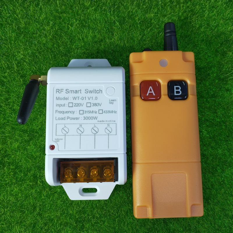 3000W RF Wireless AC 220V <font><b>Remote</b></font> <font><b>Control</b></font> Switch 1CH 30A Receiver Transmitter <font><b>315</b></font>/433 <font><b>MHZ</b></font> forwater pump lighting universal image