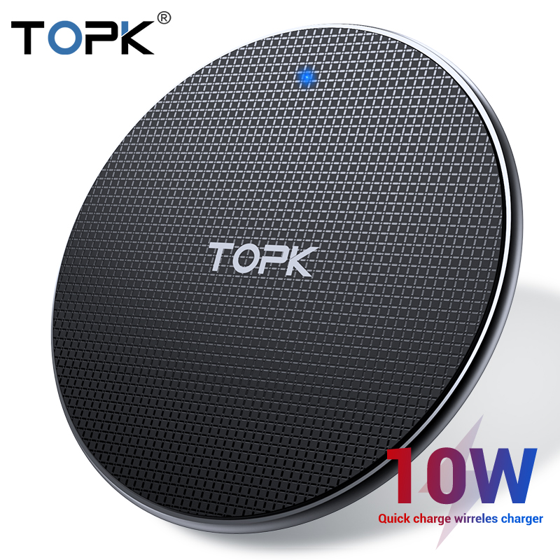 TOPK Wireless Charger for iPhone Xs Max X 8 Plus 10W Fast Charging Pad for Samsung Note 9 Note 8 S10 Plus
