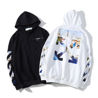 New OFF WHITE OW Spring Autumn Oil Painting Arrow streetwear Sports and leisure winter clothes women men hoodies