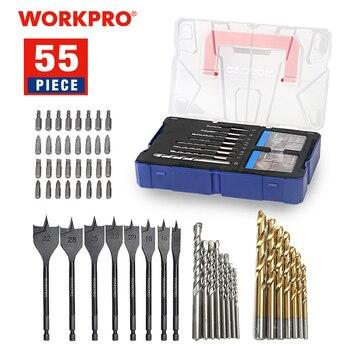 цена на WORKPRO 55-Piece Combined Drill Bit Set Masonry Drill Bits HSS Drill Bits Wood Spade Drill Bits Screwdriver Bits