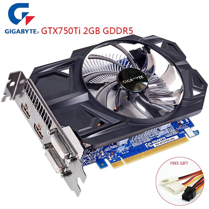 Gigabyte nvidia geforce gtx750ti 2 gb gddr5 128bit interface de memória gpu gtx750 ti placa de vídeo do jogo para o computador usado cartões vga