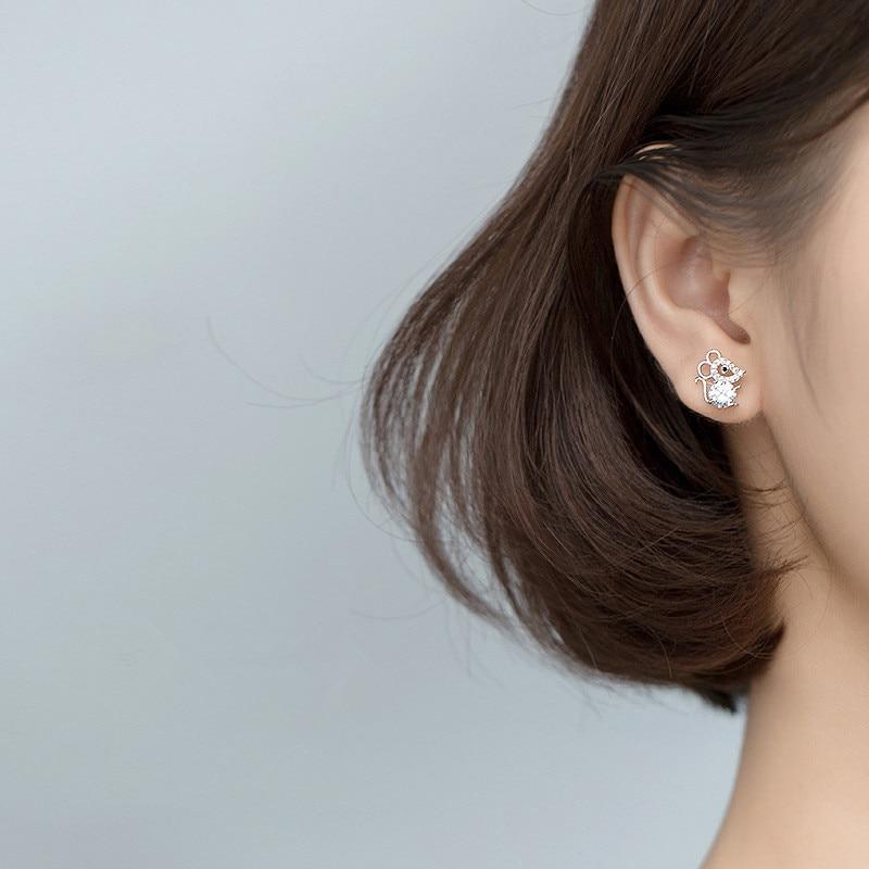 OBEAR Siver Plated Cute Mouse Micro Zircon Ear Studs Women Jewelry Girls Kid Birthday Gift Cute Animal Earrings