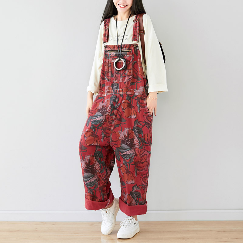 Casual Drop Crotch Jumpsuits Europe Boyfriend Big Size Wide Leg  Baggy Cowboy Bib Trousers Streetwear Printed Denim Overalls