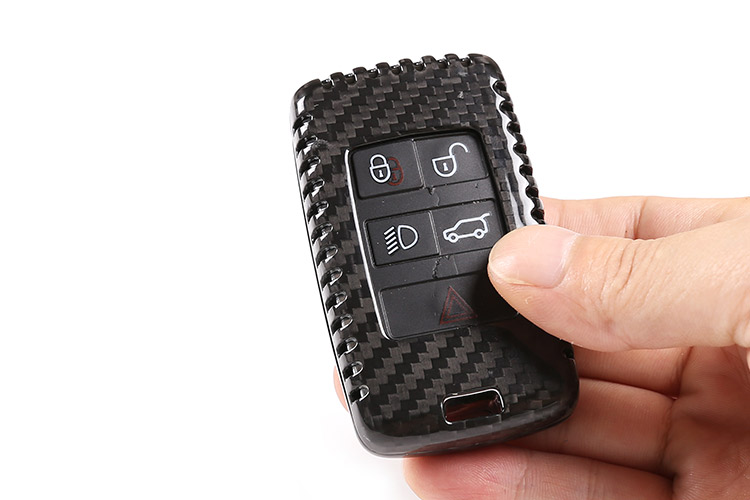 Real Carbon Fiber Car Key Shell Cover Trim For Land Rover Discovery 5 Range Rover Vogue Sport 2018 2019 For Evoque 2020 Styling