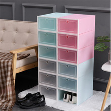 1Set Thickened Flip Shoes Transparent Drawer Case Plastic Shoe Boxes Stackable Box Storage Box Shoe Storage Organizer цена