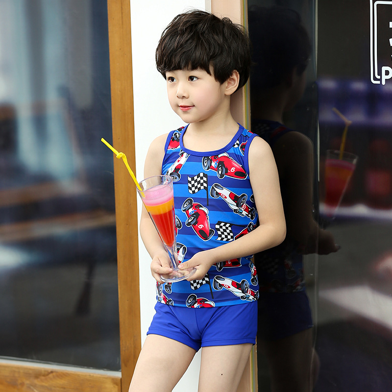 BOY'S Split Type Two Piece Set Shorts Korean-style Race Car Sports Tour Bathing Suit CHILDREN'S Swimsuit Boy Small Children Bath
