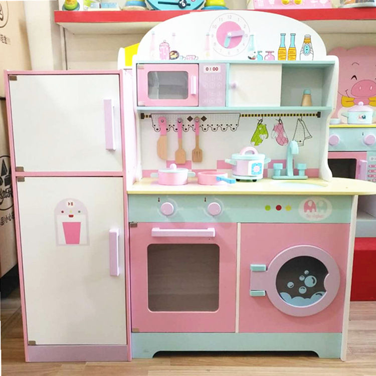 100cm Large Kids Kitchen Set Simulation Refrigerator Kitchen Kit Early Education Play House Wooden Kitchen Toy Gift Girls Toys