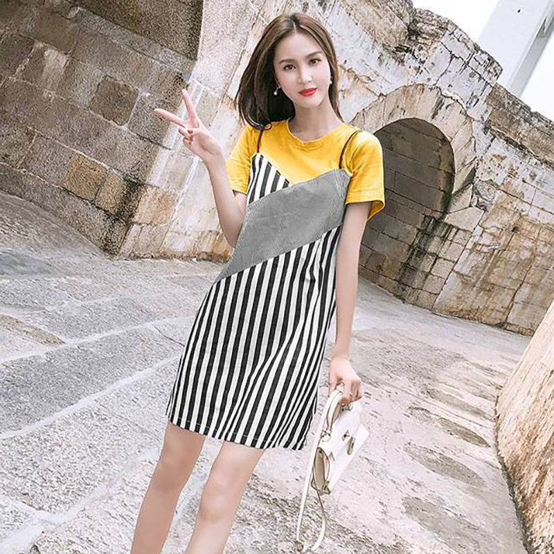 Summer Casual Striped Dress Black And White Striped Dresses Elegant Sheath Slim Women O-neck Short-sleeved Dress