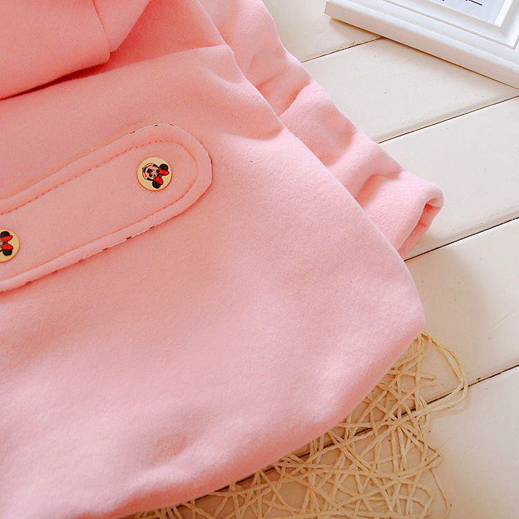 Winter Baby Parka Plus Thick Velvet Baby Girls Snow Wear Infant Girls Outerwear Coat Double-breasted Bow Toddler Girls Clothing