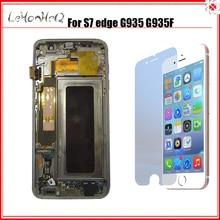 תצוגה חדשה Samsung Galaxy S7 קצה החלפת Lcd מסך Digitizer עצרת לסמסונג S7 קצה מסגרת Lcd G935 G935F LCD