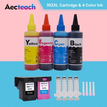 Aecteach Remanufacture Ink Cartridge for HP 302XL for HP Deskjet 1110 1111 1112 2130 Printers + 400ml Printer Ink
