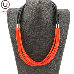 UKEBAY New Black And Red Rubber Choker Necklaces Designer Handmade Jewelry Gothic Clothes Accessories Gift Women Necklace Choker