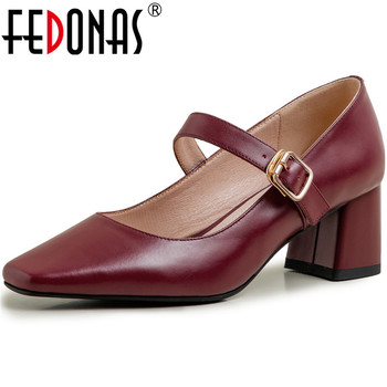 FEDONAS New Fashion Women Slip On Party Pumps Spring Summer Square Toe Shoes Genuine Leather Metal Decoration Shoes Woman