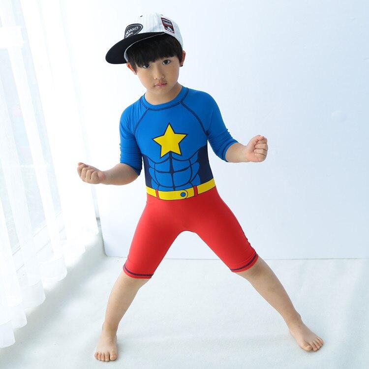 New Style Big Boy Superman Zipper Cute BOY'S One-piece Hot Springs Surf Wear Two-Piece Set KID'S Swimwear