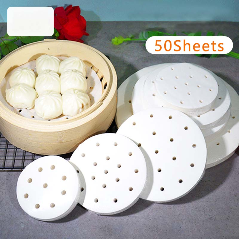 50 Sheets of Round Baking Paper Steamed Paper Oven Barbecue Steamed Bun Paper Steamer Drawer Paper Non-sticky Oil-proof Shippin