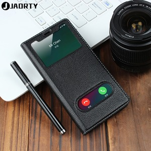 Image 1 - Genuine Leather Case For Apple iPhone 5 Se 6s 7 8 Plus iPhone X XR XS Max Vision Window Phone Cases Flip Case Leather Cover