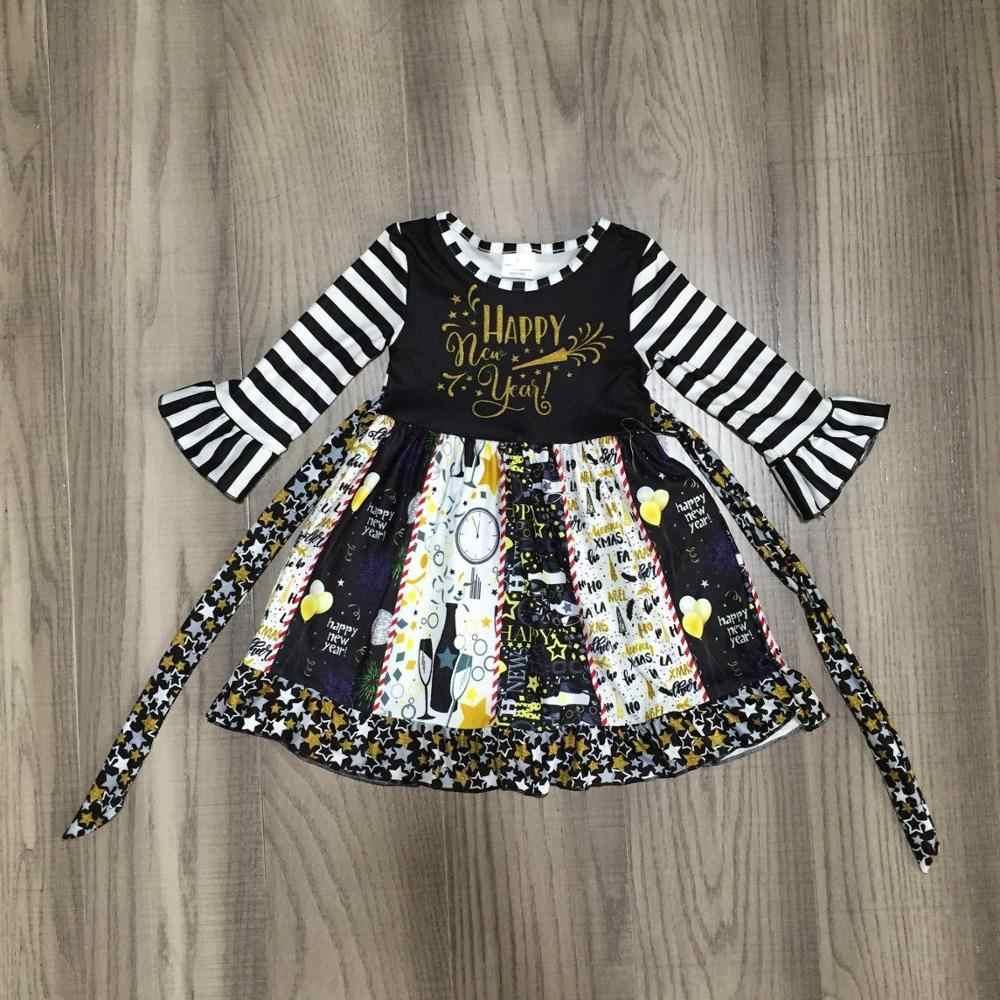 Bé Gái Quần Áo Bé Gái Mùa Thu/Mùa Đông Twirl Đầm Ngôi Sao Váy In Sọc Đen Bé Boutique Bán Buôn