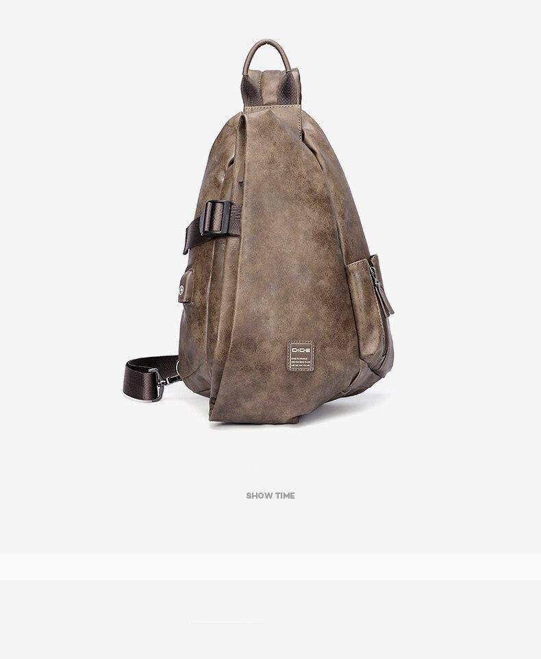 DIDE Anti-thief Crossbody Men Bags Waterproof USB Charging Chest Pack Short Trip Messengers Chest Bag iPad Shoulder Bag Male