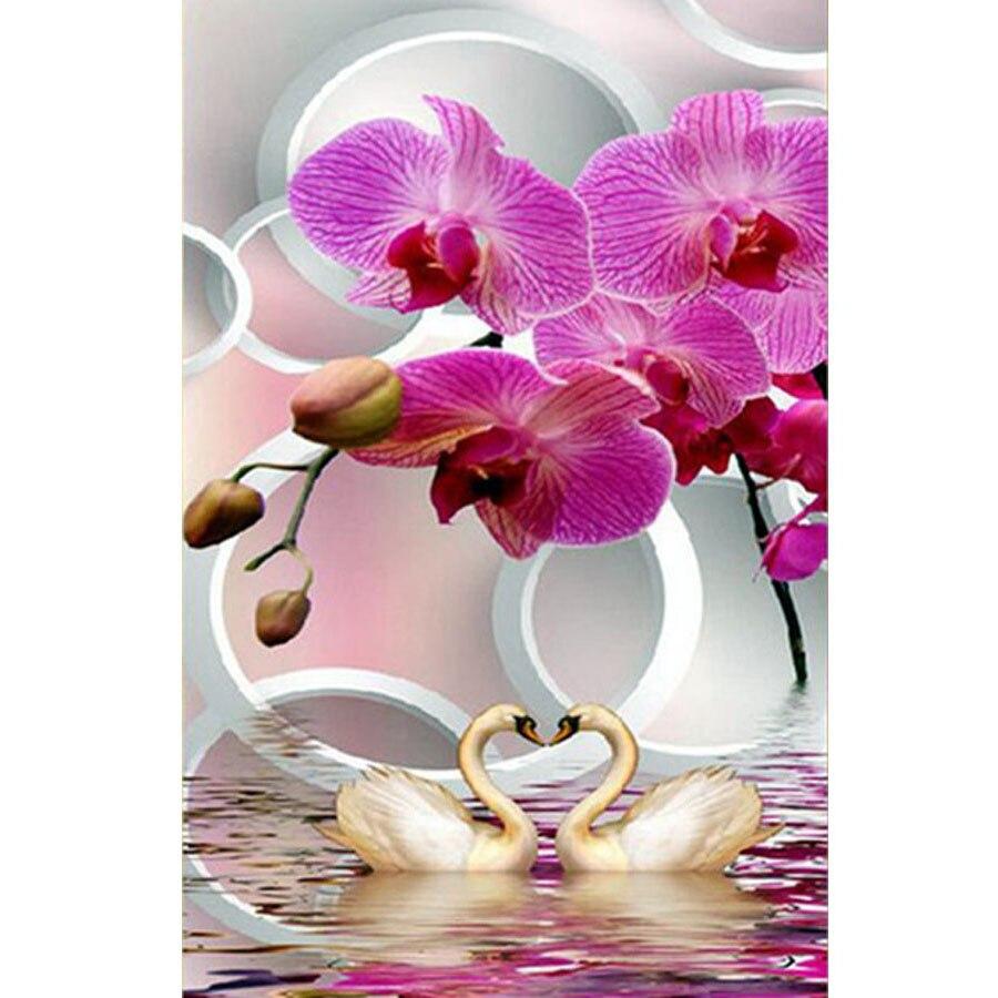 Pdmdog Алмазная картина мозаика Лебедь Орхидея Цветы Стразы