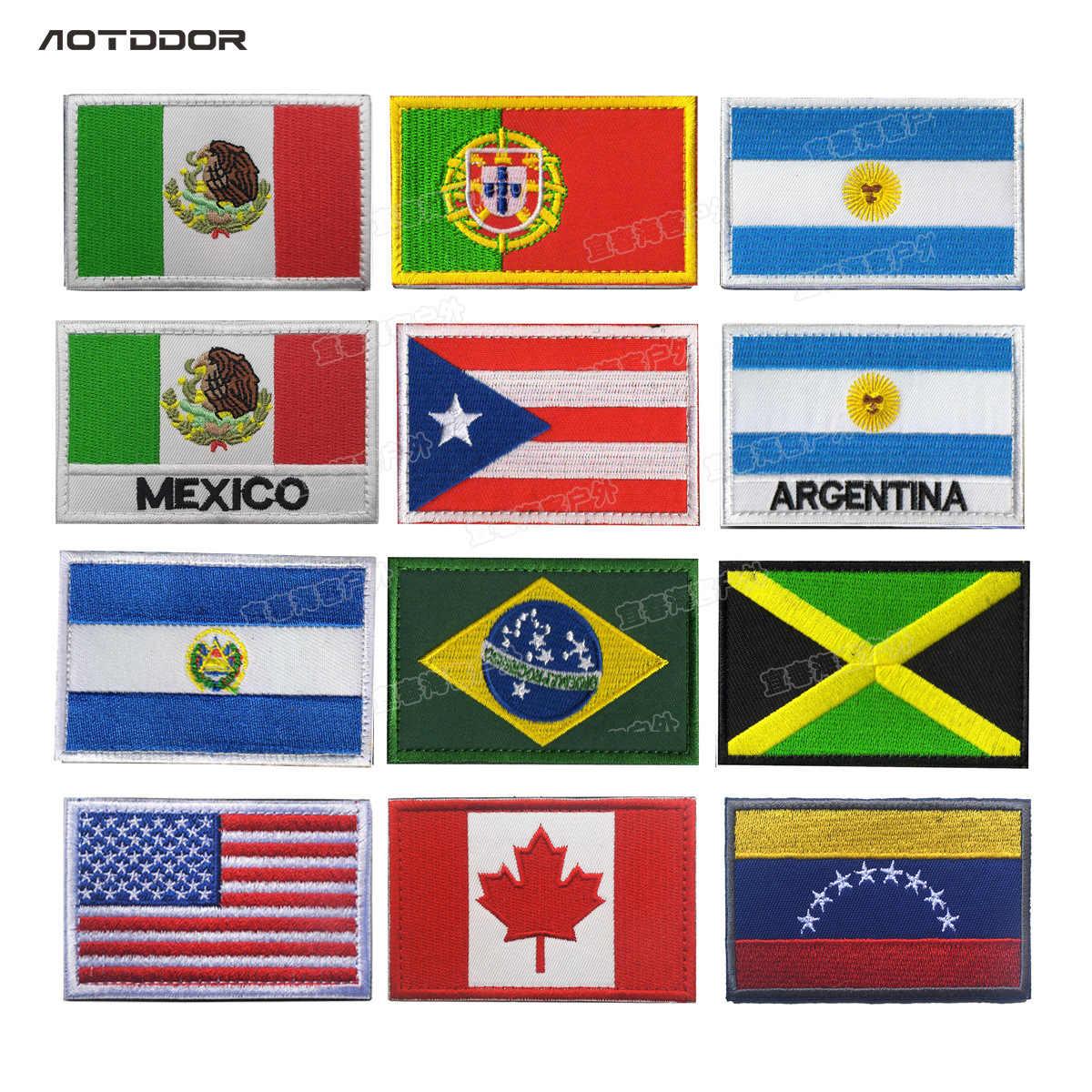 北アメリカフラグメキシコポルトガルアルゼンチンジャマイカ士気パッチ布ラベルパック掲示刺繍腕章ベルクロ