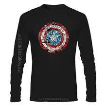 2020 T-shirt Capit n Suis rica T-shirt avec c micro imprimé bouclier à manches Longues T-shirt