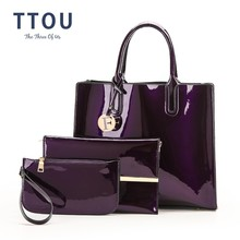 TTOU بو الجلود حقيبة يد المرأة الماركات الفاخرة حمل حقيبة السيدات حقيبة كتف أنيقة 3 قطعة/المجموعة الإناث حقيبة أنيقة