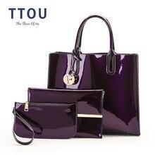 Ttou Pu Lederen Handtas Vrouwen Luxe Merken Tote Tas Dames Mode Schoudertas 3 Stks/set Vrouwelijke Elegante Tas