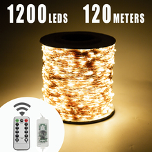 120M 1200 LED מחרוזת אורות פיית חג המולד לחבר עבור חיצוני חתונת מסיבת חג גן שינה חיצוני קישוט