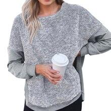 Plus Size Womens Stitching Split Sweatshirt Casual Long Sleeve Pullover Tops Asymmetrical High Low Tops Casual Knit Pullover D30 asymmetrical hem cut out split sleeve sweatshirt