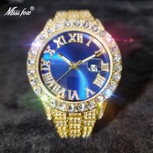 Relogios masculinos de luxo original 18k ouro grande diamante azul dial homem de negócios relógio calendário à prova d3água 3bar masculino relógio de pulso