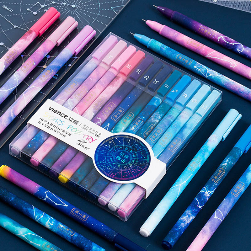12Pcs/Set 0.5mm Constellation Gel Pens Cute Star Universe Black Core Pens For Girl Gift School Office Supplies Korean Stationery