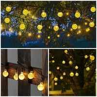 New 5M/10M Solar Light  LEDS Crystal ball Solar Power LED String Fairy Lights Garland Garden Christmas Decor For Outdoor navidad