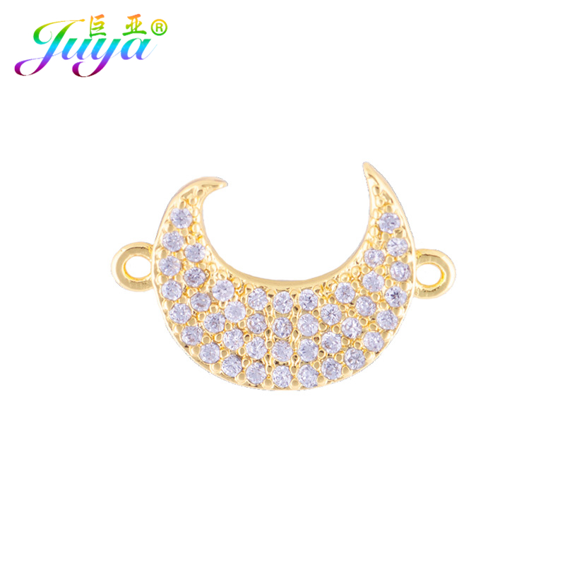 DIY Jewelry Findings Micro Pave Zircon Crescent Moon Charm Connector Accessories For Women Bracelet Earrings Jewelry Making