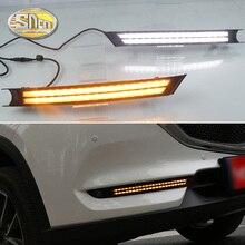 SNCN 2 шт. светодиодный дневный ходовой светильник для Mazda CX 5 CX5 2017   2020 течет реле сигнала поворота ABS 12V DRL противотуманная фара украшение